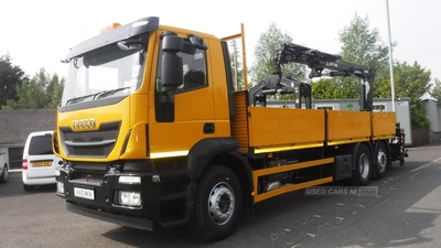 Iveco Stralis 260bhp 6x2 26 tonnes aluminium d side with crane in Down